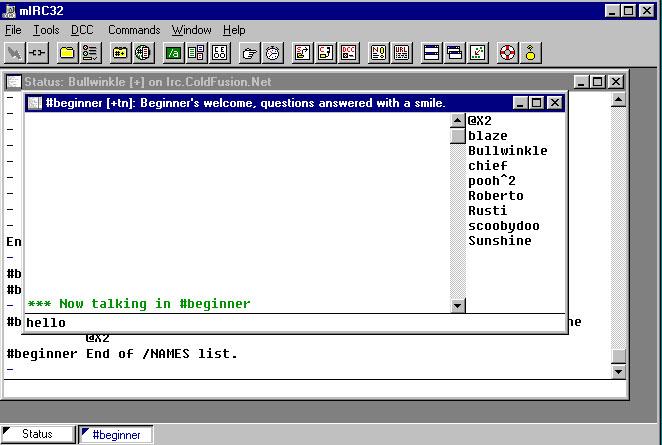 IRC Sample Screens