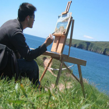 Student painting in Dingle, Ireland